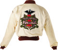 Music Memorabilia:Costumes, Parliament-Funkadelic Tour Jacket. A cream-colored satin tourjacket with brown trim, circa 1978, with a large Parliament-Fu...