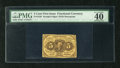 Fractional Currency:First Issue, Fr. 1230 5c First Issue PMG Extremely Fine 40 EPQ. The back is centered a little high....