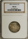 Coins of Hawaii: , 1883 25C Hawaii Quarter MS65 NGC. Thoroughly original speckledpatina adorns each side of this well struck Gem, except for ...
