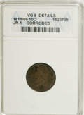 Bust Dimes: , 1811/09 10C --Corroded--ANACS. VG8 Details. JR-1. NGC Census:(3/58). PCGS Population (0/47). Mintage: 65,180. Numismedia Ws...