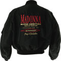 "Music Memorabilia:Costumes, Madonna ""Blond Ambition"" Tour Jacket. A heavy black satin tour jacket with the Pioneer logo embroidered on the breast in gol..."