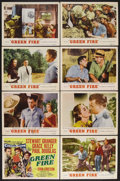 "Movie Posters:Adventure, Green Fire (MGM, 1954). Lobby Card Set of 8 (11"" X 14""). AdventureDrama. Starring Grace Kelly, Stewart Granger, Paul Dougla...(Total: 8 Items)"