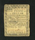 Colonial Notes:Continental Congress Issues, Continental Currency February 17, 1776 $1/3 Fine. This is a nicerepresentative for the grade....