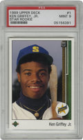 Baseball Cards:Singles (1970-Now), 1989 Upper Deck Ken Griffey, Jr. Star Rookie #1 PSA Mint 9.Stunning #1 card from the important 1989 Upper Deck issue that ...