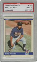 Baseball Cards:Singles (1970-Now), 1984 Fleer Update Kirby Puckett PSA Mint 9. Kirby Puckett is shownhere as a bubbly youngster with the Minnesota Twins for ...
