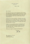 "Autographs:U.S. Presidents, President Dwight D. Eisenhower. Good content Typed Letter Signed ""D.E."" as President, one page, 7 x 10.25 inches on ..."