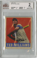 Baseball Cards:Singles (1940-1949), 1948-49 Leaf Ted Williams #76 Beckett Good 2. Nice-looking vintagecard we see here focuses on the Hall of Fame hero Ted Wi...