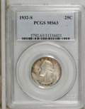 Washington Quarters: , 1932-S 25C MS63 PCGS. Relatively clean surfaces on this key-dateWashington are visited by localized speckles of apple-gree...