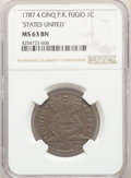 1787 CENT Fugio Cent, STATES UNITED, 4 Cinquefoils, Pointed Rays, MS63 Brown NGC. N. 8-X, W-6750, R.3