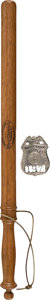 Baseball Collectibles:Others, 1930's Yankee Stadium Police Badge & Louisville Slugger Billy Club....