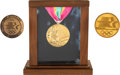Olympic Collectibles:Autographs, 1984 Los Angles Summer Olympic Games Gold Medal, Participation Medal & Commemorative Medal Lot of 3....