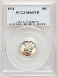 1931 10C MS65 Full Bands PCGS. PCGS Population: (128/111). NGC Census: (58/14). CDN: $500 Whsle. Bid for problem-free NG...
