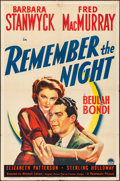 "Movie Posters:Comedy, Remember the Night (Paramount, 1940). Folded, Fine+. One Sheet (27"" X 41""). Comedy.. ..."