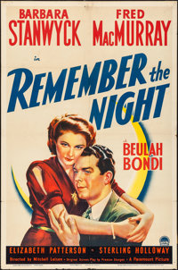 "Remember the Night (Paramount, 1940). Folded, Fine+. One Sheet (27"" X 41""). Comedy"