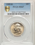 Washington Quarters, 1952-D 25C MS67 PCGS. PCGS Population: (23/0). NGC Census: (41/2). CDN: $1,200 Whsle. Bid for problem-free NGC/PCGS MS67. M...