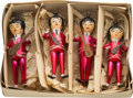 Music Memorabilia:Memorabilia, The Beatles Vintage Set of Christmas Ornaments in Box, Red (4) (Italy, 1964). ...
