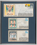 Autographs:Post Cards, Baseball Greats Multi-Signed First Day Cover Framed Trio....