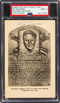 Autographs:Post Cards, 1947-52 Pie Traynor Signed Albertype Hall of Fame Plaque Type 1, PSA/DNA Mint 9....