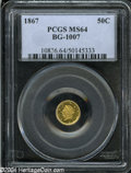 California Fractional Gold: , 1867 50C Liberty Round 50 Cents, BG-1007, High R.4, MS64 PCGS. ...