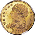 Early Half Eagles, 1810 $5 Large Date, Large 5, BD-4, R.2, MS65 NGC....