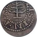 1652 6PENCE Pine Tree Sixpence, Pellets at Trunk, VF30 PCGS. CAC. Noe-33, W-670, Salmon 2-B, R.3
