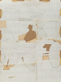 Velox Benjamin Ward (American, 1901-1994) Couple in Carriage, cut-out maquette Pencil on paper with collage 31 x 23 i