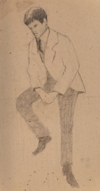 Frank Reaugh (American, 1860-1945) Young Boy, 1926 Charcoal on paper 19-3/4 x 10-1/2 inches (50.2
