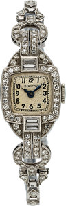 Timepieces:Wristwatch, Hamilton, Lady's Platinum & Diamond Wristwatch. ...