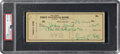 Baseball Collectibles:Others, 1950 Ty Cobb Signed Check, PSA/DNA NM-MT 8....