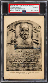 1947-52 Connie Mack Signed Albertype Hall of Fame Plaque Type 1, PSA/DNA Mint 9