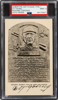 1947-52 Cy Young Signed Albertype Hall of Fame Plaque Type 1, PSA/DNA Mint 9