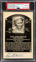 Autographs:Post Cards, 1956-60 Paul Waner Signed Artvue Hall of Fame Plaque Type 2, PSA/DNA Mint 9....