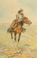 Fine Art - Work on Paper, Elling William Gollings (American, 1878-1932). The Range Land Girl. Watercolor on board. 20 x 13 inches (50.8 x 33.0 cm)...