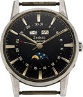 Timepieces:Wristwatch, Zodiac, Triple Calendar Moon Phase Automatic, Stainless Steel. ...