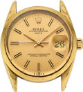 Timepieces:Wristwatch, Rolex, Oyster Perpetual Date, Gold Shell/Steel, Ref. 1550, circa 1970's. ...