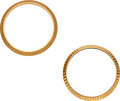 Timepieces:Other , Two Rolex Gold 25 mm Bezels, Fluted & Bark Finish. ... (Total: 2 Items)