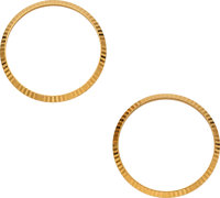 Two Rolex Fluted Gold Bezels, 34 mm Diameter ... (Total: 2 Items)