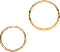 Timepieces:Other , Two Rolex Gold Fluted Bezels, 34.5 mm & 29 mm diameter. ... (Total: 2 Items)