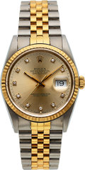 Timepieces:Wristwatch, Rolex, Two Tone Oyster Perpetual Datejust, Diamond Dial, Ref. 16233, circa 1990. ...