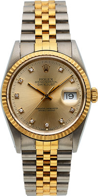 Rolex, Two Tone Oyster Perpetual Datejust, Diamond Dial, Ref. 16233, circa 1990