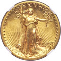 High Relief Double Eagles, 1907 $20 High Relief, Flat Rim, MS63 NGC....