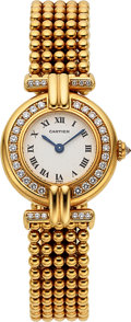 "Timepieces:Wristwatch, Cartier, ""Colisee"" Ref. 1980, 18k Gold and Diamonds, Circa 1980's. ..."