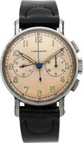 Timepieces:Wristwatch, Longines, Vintage 13ZN Steel Chronograph, circa 1940. ...