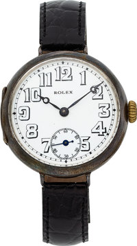 Rolex, Early Sterling Silver Wristwatch With Enameled Dial, circa 1915