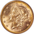 1857-S $20 Spiked Shield, Variety 20A, MS64 PCGS. CAC