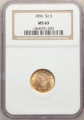 1896 $2 1/2 MS63 NGC. NGC Census: (130/202). PCGS Population: (156/263). CDN: $500 Whsle. Bid for NGC/PCGS MS63. Mintage...