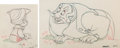 Animation Art:Production Drawing, Pinocchio Set of 2 Animation Drawings, Pinocchio and Stromboli (Walt Disney, 1940). ... (Total: 2 )