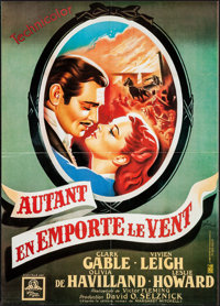 """Gone with the Wind (Cine Poster, R-1986). Folded, Very Fine+. Reprint Poster (19.75"""" X 27.75""""). Boris Grinsson..."""
