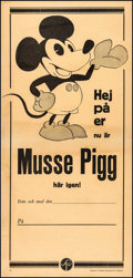 "Movie Posters:Animation, Mickey Mouse Lot (Svensk Film, c.1930s). Fine/Very Fine on Linen. Swedish Stock Insert (12.25"" X 25.75""). Animation.. ..."