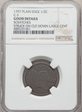 1797 1/2 C Plain Edge, Low Head, C-3a, B-3c, R.3 -- Scratches -- Struck on Cut Down Large Cent -- NGC Details. Good